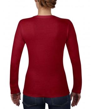 Дамска, т.червена тениска дълъг ръкав Anvil