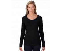 Черна, дамска тениска  Anvil широко деколте
