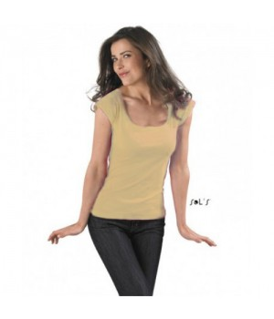 Дамска, бежова тениска Sol's с къс ръкав