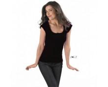 Дамска, черна тениска Sol's с къс ръкав