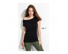 Черна, дамска тениска Sol's с ръкав тип кимоно