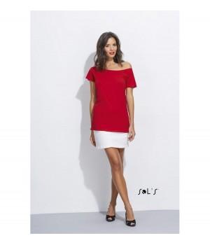 Червена, дамска тениска Sol's с ръкав тип кимоно