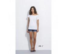 Women's S/S Long kimono T-shirt color white