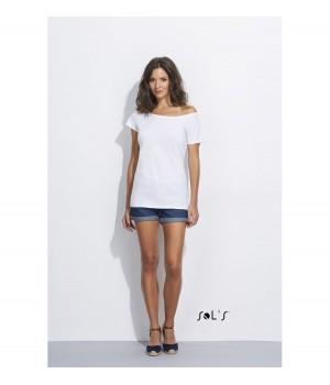Бяла, дамска тениска Sol's с ръкав тип кимоно